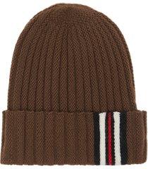 women's burberry stripe cuff ribbed wool beanie - brown