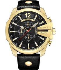 grande quadrante calendario data mens orologi luxury business cinturino in vera pelle orologi d'oro per gli uomini