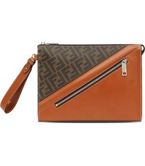 fendi ff panelled zipped pouch - brown