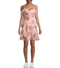 rebecca taylor women's metallic floral ruffle dress - rose gold - size 6