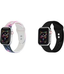 unisex charcoal tie dye and black 2-pack replacement band for apple watch, 42mm