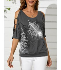camiseta con mangas 3/4 longitud con hombros descubiertos y estampado de cuero gris yoins