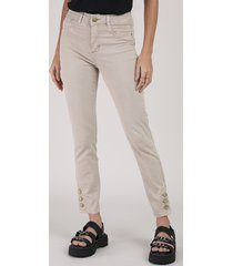 calça de sarja feminina sawary cigarrete cintura média com botões kaki