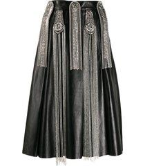 christopher kane chain leather skirt - black