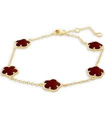 floral 14k goldplated & coral agate station bracelet