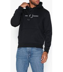 fred perry graphic hooded sweat tröjor black