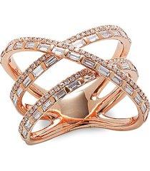 saks fifth avenue women's 14k rose gold & 1.08 tcw diamond triple tier ring - size 7