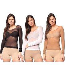 kit 3 camisas selene segunda pele modal ml femini - feminino