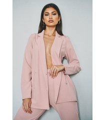 double breasted blazer & trouser suit set, pink