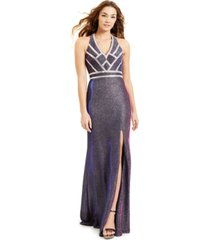 blondie nites juniors' glitter plunge v-neck gown, created for macy's