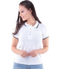 camisa polo regular em meia malha branco traymon cp0719