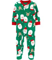 carter's baby boys footed fleece santa baby pajamas
