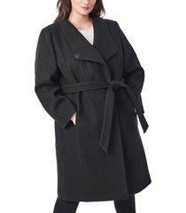 plus size women's bernardo belted wrap coat, size 1x - black