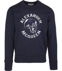 alexander mcqueen man navy blue skull logo sweatshirt