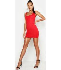 basic square neck bodycon mini dress, red