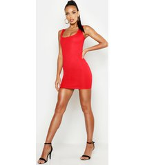 basic square neck bodycon mini dress, red