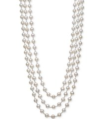 "belle de mer cultured freshwater pearl (7mm) triple strand 18"" statement necklace in sterling silver"