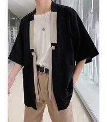 100% algodón liso bolsillos grandes con cordones media manga camisa cardigan