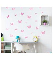 adesivo de parede borboletas tons de rosa 25un cobre 1,5m²