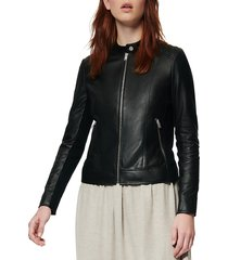 marc new york women's glenbrook feather-weight leather & knit panel moto jacket - black - size l