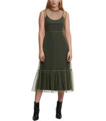 dkny tulle-overlay midi dress