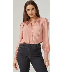 amaro feminino camisa essential detalhes franzidos, rosa queimado