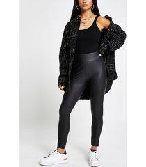 river island womens petite black high waisted coated leggings