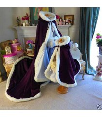 bridal winter wedding cloak cape hooded with fur trim long flower girl cloak