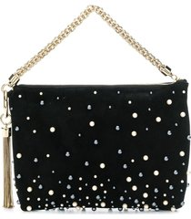 jimmy choo callie pearl-embellished clutch - black