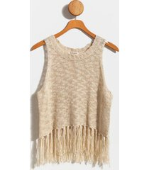 norelle fringe sweater tank top - ivory