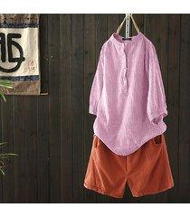 zanzea mujer de manga larga soporte de la camisa de cuello tops botones flojo ocasional del cuello de la blusa tops (no incluido los pantalones) -rosado