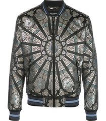 dolce & gabbana stained glass window style print bomber jacket - black