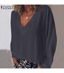 zanzea mujeres camiseta de manga larga con cuello en v camiseta top tee sólido llano básico de la blusa nuevo -gris