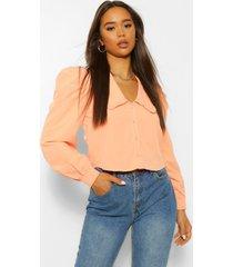 katoenmix blouse met grote kraag, abrikoos