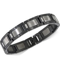 esquire men's jewelry diamond accent link bracelet in gunmetal stainless steel, created for macy's