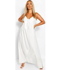 plus strappy maxi-jurk met sluiting aan de voorkant, ivoor