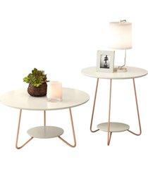 conjunto mesa centro e apoio liz com pés de ferro off white - rpm móveis