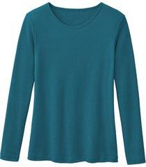 biologisch katoenen shirt met ronde hals en lange mouwen, petrol 36/38