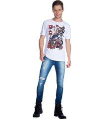t-shirt patch guess - branco - masculino - dafiti