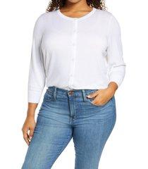 plus size women's halogen button front cardigan, size 3x - white