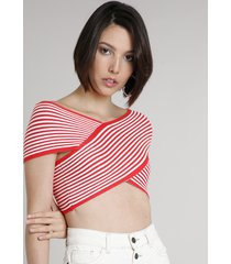 blusa feminina cropped em tricô listrada manga curta decote v vermelha