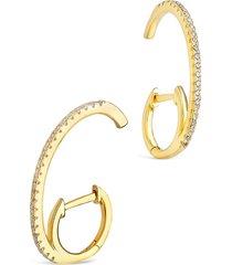 sterling forever women's 14k gold vermeil & cubic zirconia suspender hoop earrings