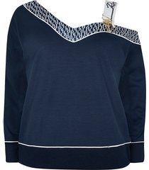 river island womens plus navy ri monogram one shoulder sweatshirt