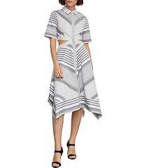 striped cutout cotton handkerchief dress