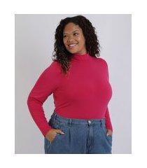 blusa feminina mindset plus size manga longa gola alta pink
