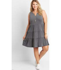 maurices plus size womens solid tiered babydoll dress gray