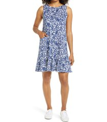 women's lilly pulitzer kristen flounce dress, size large - blue