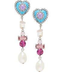dannijo women's max 15mm teardrop pearl & glass crystal drop earrings