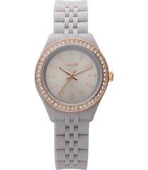 orologio cinturino policarbonato grigio, ghiera oro rosa e strass per donna