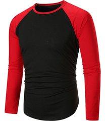 color blocking spliced raglan sleeve t-shirt
